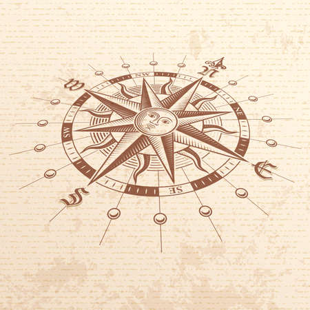 Vector hi quality Illustration of a Perspective view of an Antique Compass Rose ona vintage paper. Stock Photo