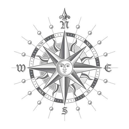 north star: Illustration of a Vector hi quality Compass Rose.