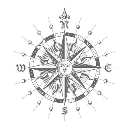 antik: Illustration von einem Vektor-hallo Qualität Compass Rose. Lizenzfreie Bilder