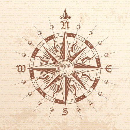 Illustration of a Vector hi quality Vintage Compass Rose
