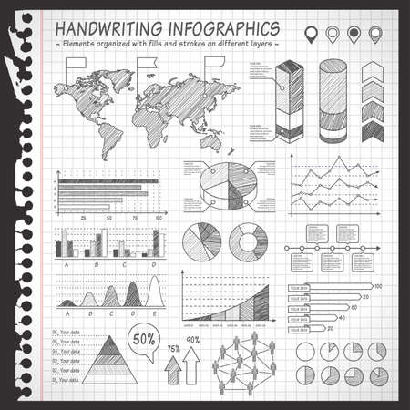 A comprehensive Template set for infographics with a sketchy Notebook Effect. - Bar charts- Graphs- Pie Charts- Detailed World Map- Pointer Icons- Story Line TemplatesVector file and is organized with layers, isolating all elements on its own layers.