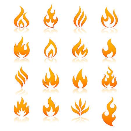 llamas de fuego: conjunto de 16 de llama y fuego vector iconos. Fichero del vector es totalmente en capas