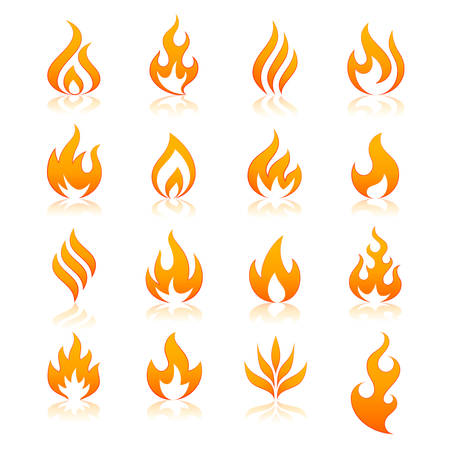 flame: set of 16 flame and fire vector icons. Vector file is fully layered