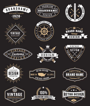 Collection de quinze logos et insignas Vintage.