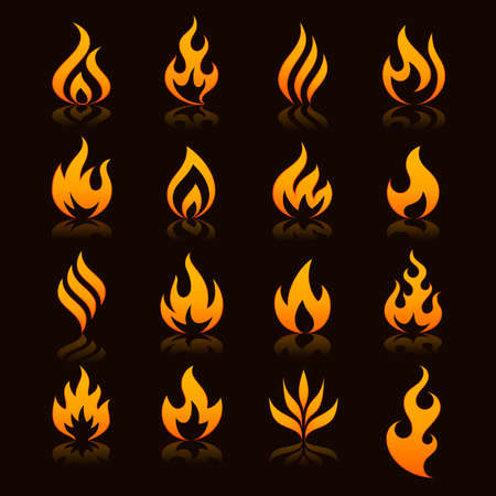 flames of fire: Set of 16 flame and fire vector icons. Vector file is fully layered