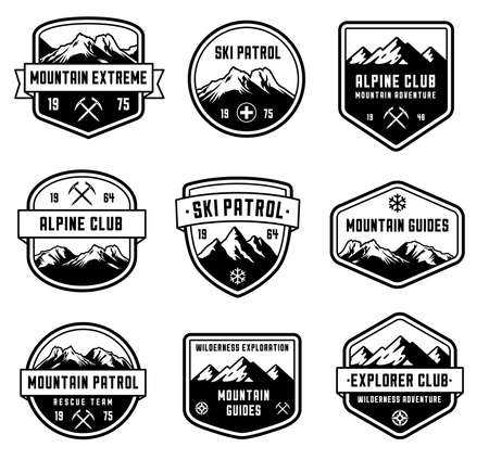 Set of 9 vector high Quality badges and insignias for mountain related design.