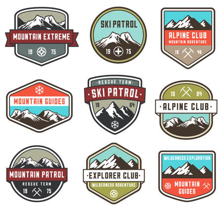 sport equipment: Set of 9 vector high Quality Colorful badges and insignias for mountain related design. Illustration
