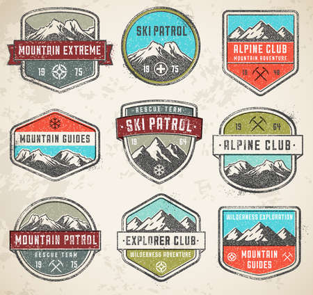 Set of 9 vector high Quality Colorful badges and insignias for mountain related design, with a grunge vintage look. Ilustração