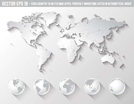 An high quality world map in tones of grey with a cool flat shaded Shadow.