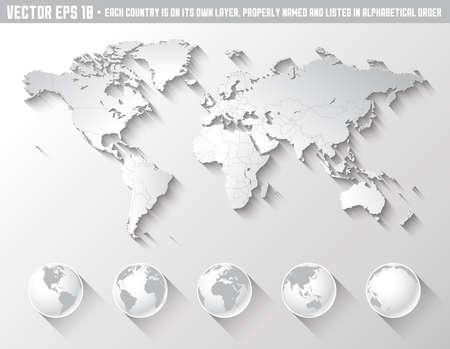 deutschland karte: Eine hohe Qualit�t Weltkarte in Graut�nen mit einem k�hlen flachen schattigen Schatten. Lizenzfreie Bilder