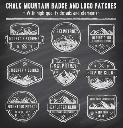 9 のベクトルの高品質カラフルなバッジと徽章を山の黒板に白いチョークでグランジ ビンテージの外観とデザイン関連。