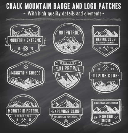 Set of 9 vector high Quality Colorful badges and insignias in white chalk on a Blackboard for mountain related design, with a grunge vintage look.