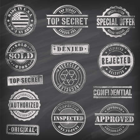 rubber stamp: Collection of 13 Hi detail commercial grunge chalkboard stamps Illustration