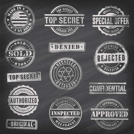 Collection of 13 Hi detail commercial grunge chalkboard stamps 向量圖像