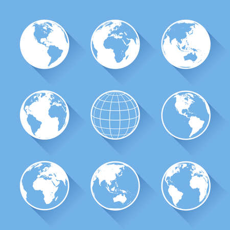 physical geography: Set of nine vector globe icons with four views of the earth, with great detail.