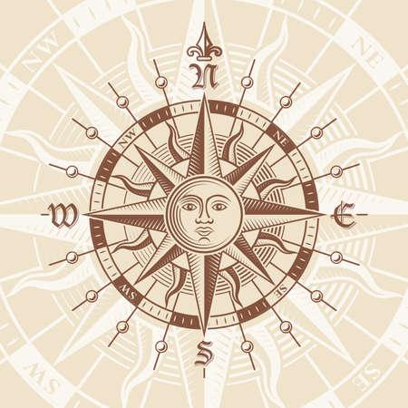 antik: Vector hallo Qualität Illustration einer Perspektivansicht einer Antique Compass Rose auf einem Vintage-Papier.