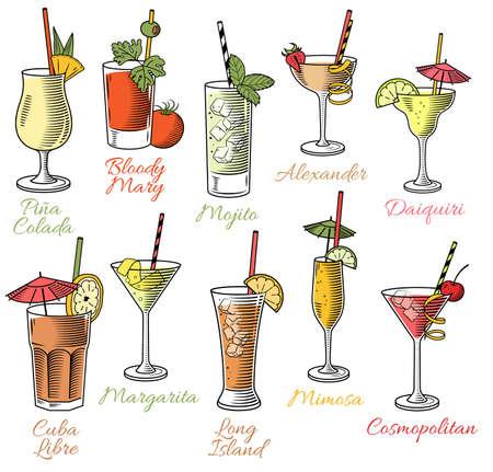 Conjunto de diez hermosa ilustración de algunos de los cócteles más famosos y bebidas de todo el mundo Ilustración de vector