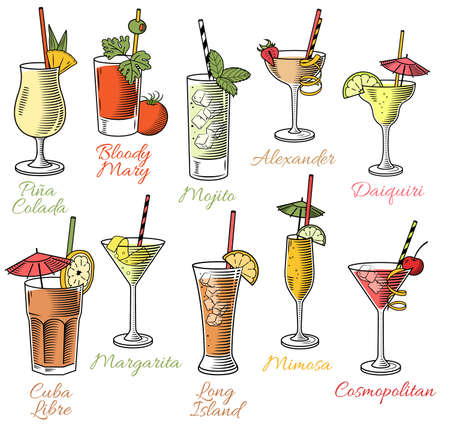 drinking: Set of ten beautiful illustration of some of the most famous Cocktails and Drink from all around the world Illustration