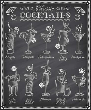 Conjunto de diez hermosa ilustración de algunos de los cócteles más famosos y bebidas de todo el mundo, en un menú de pizarra.