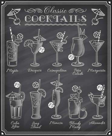 Set of ten beautiful illustration of some of the most famous Cocktails and Drink from all around the world, on a blackboard menu.