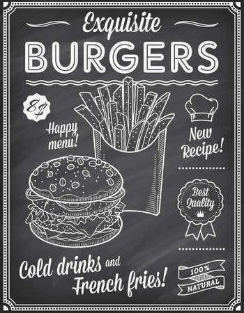 A Grunge Chalkboard Fast Food Menu Template, with elegant text ideas and high quality fast food illustrations for an hamburger and French fries. Illustration
