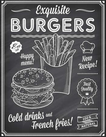 pizarron: Un Grunge pizarra Plantilla Menú comida rápida, con las ideas de texto elegantes y de alta calidad ilustraciones de comida rápida para una hamburguesa y papas fritas.