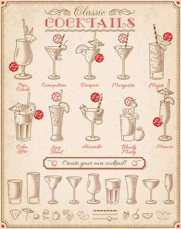 coquetel: Conjunto de dez bela ilustração de alguns dos mais famosos cocktails e Bebida de todo o mundo, em um quadro menu.