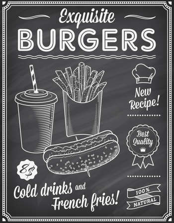 A Grunge Chalkboard Fast Food Menu Template, with elegant text ideas and high quality fast food illustrations for an hot dog, cold drink and French fries.