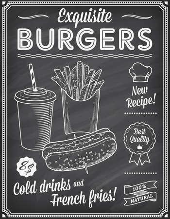perro caliente: Un Grunge pizarra Plantilla Menú comida rápida, con las ideas elegantes de texto y de alta calidad ilustraciones de comida rápida para un perro caliente, refresco y papas fritas.