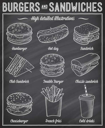 blackboard background: Gorgeous vector illustrations set of different kind of fast food specialties. Illustration