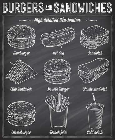 Prachtige vector illustraties set van verschillende soort fast food specialiteiten.