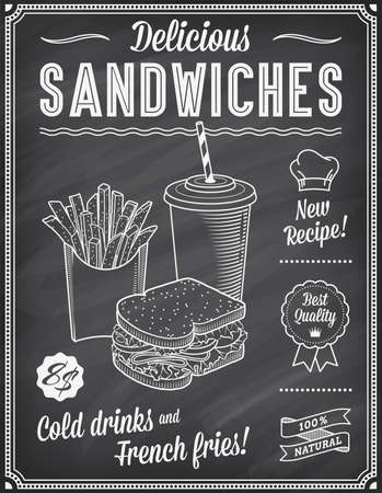 A Grunge Chalkboard Fast Food Menu Template, with elegant text ideas and high quality fast food illustrations for a Sandwich, cold drink and French fries.