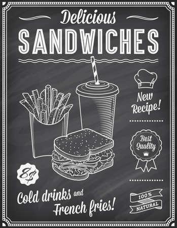 Een Grunge krijtbord Fast Food Menu Template, met een elegante tekst ideeën en hoge kwaliteit fast food illustraties voor een Sandwich, koud drankje en Franse frietjes.