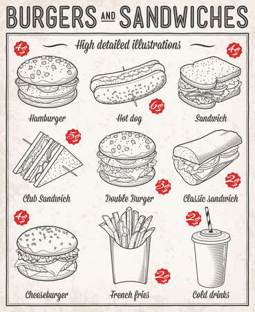 Gorgeous vector illustrations set of different kind of fast food specialties. Ilustração
