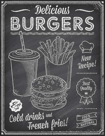 Een Grunge krijtbord Fast Food Menu Template, met een elegante tekst ideeën en hoge kwaliteit fast food illustraties voor een hamburger koud drankje en Franse frietjes.