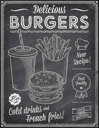 A Grunge Chalkboard Fast Food Menu Template, with elegant text ideas and high quality fast food illustrations for an hamburger cold drink and French fries.