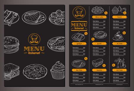 Plantilla lookinh vector moderno para un menú de restaurante plegable con el un montón de buenos ejemplos de alimentos de la vendimia