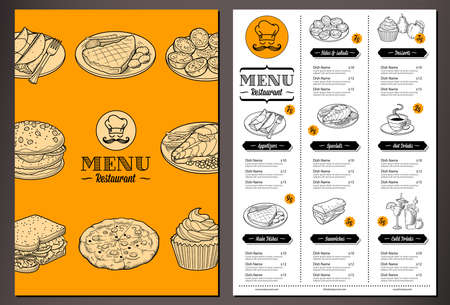 menu restaurant: Modern lookinh vector template for a Folded Restaurant Menu with lots of nice vintage food illustrations