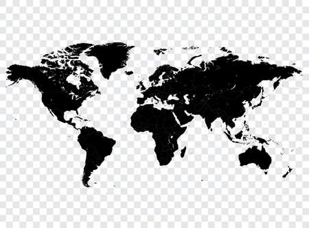high detail: High detail vector Black map of the world with political boundaries.