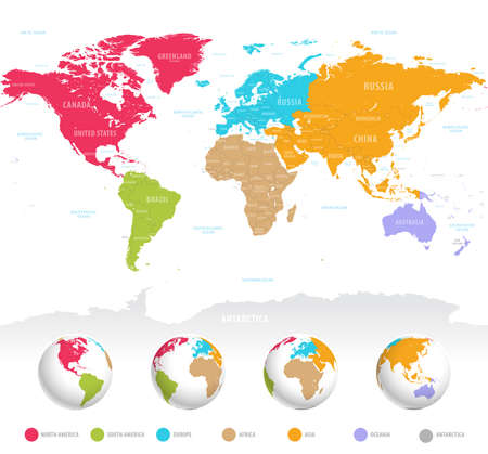 High detail vector colorful map of the world with political boundaries, country names and 3D globes of the earth.