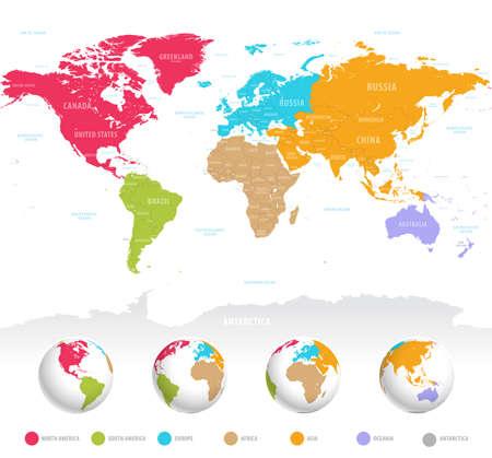 High detail vector kleurrijke kaart van de wereld met politieke grenzen, namen van landen en 3D bollen van de aarde. Stock Illustratie