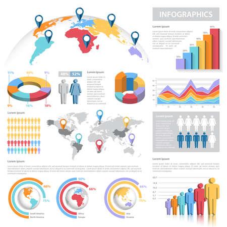 grafica de barras: Una plantilla completa fijada para la infografía. - Los gráficos de barras - Pie Charts - - Gráficos detallada World Map - Puntero Icons - archivo Argumento plantillas Vector es v.10 EPS y se organiza con capas, aislando todos los elementos en sus propias capas.