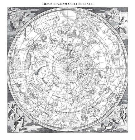 Alto detalle del ejemplo del vintage del hemisferio boreal Cielo Astronomía Constelaciones Foto de archivo