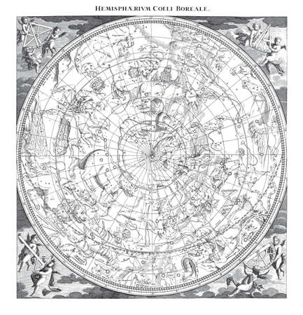 High Detail Vintage Illustratie van Boreal Hemisphere Sky Astronomy Constellations