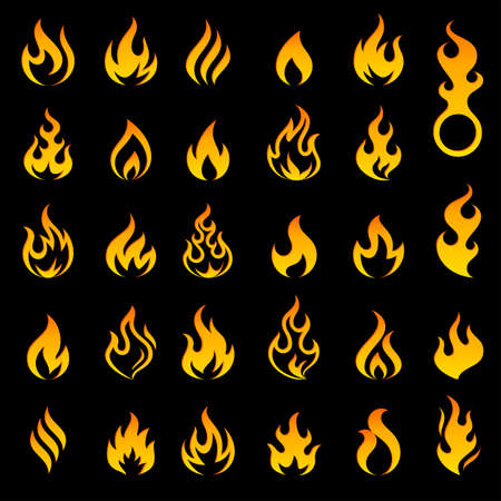 Big set of 29 flame and fire vector icons on black background. Vector file is fully layered