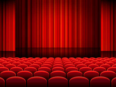Vector illustration of Rows of red velvet seats of a dark cinema or theater hall Vectores