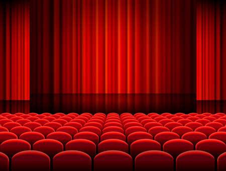 Vector illustratie van Rijen van rood fluwelen stoelen van een donkere bioscoop of theaterzaal