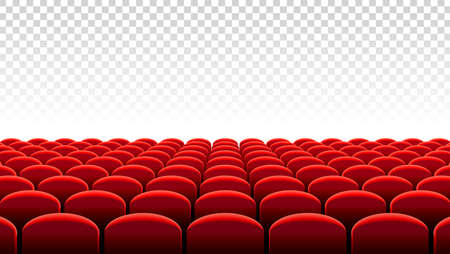 Vector illustration of Rows of red velvet seats of a cinema or theater hall.
