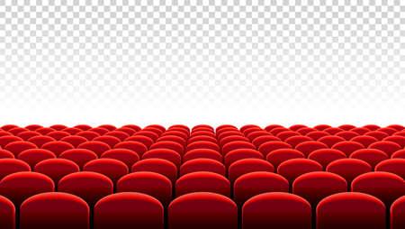 Vectorillustratie van Rijen van rode fluwelenstoelen van een bioscoop of theaterzaal.