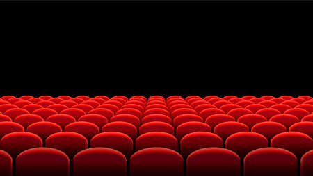 Vector illustration of Rows of red velvet seats of a dark cinema or theater hall Illustration